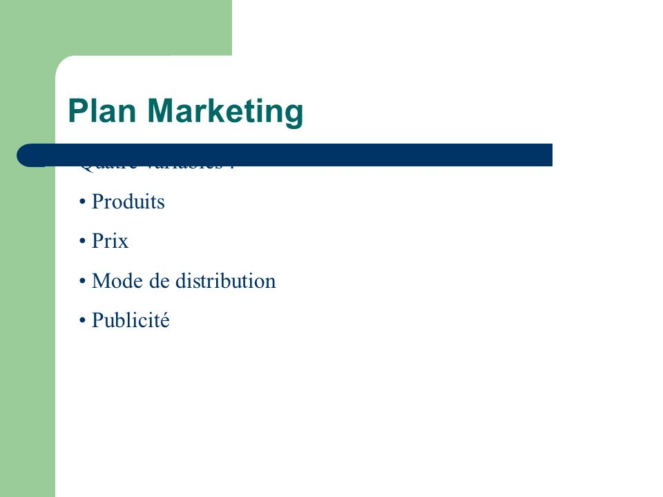 Plan Marketing Quatre variables : Produits Prix Mode de distribution
