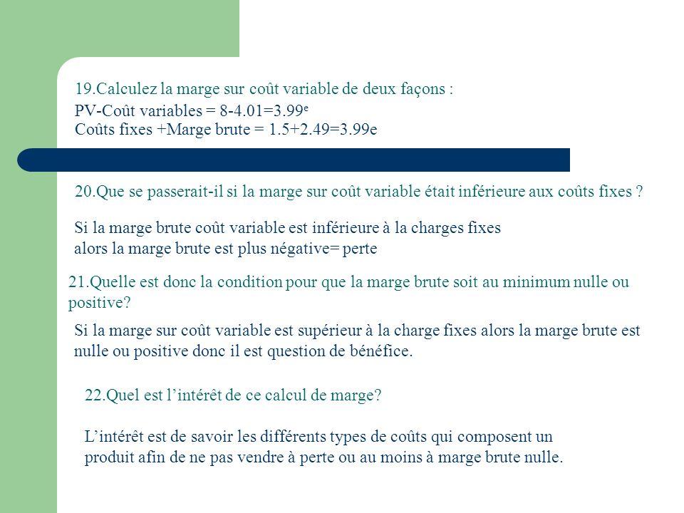 19.Calculez la marge sur coût variable de deux façons : PV-Coût variables = 8-4.01=3.99e Coûts fixes +Marge brute = 1.5+2.49=3.99e
