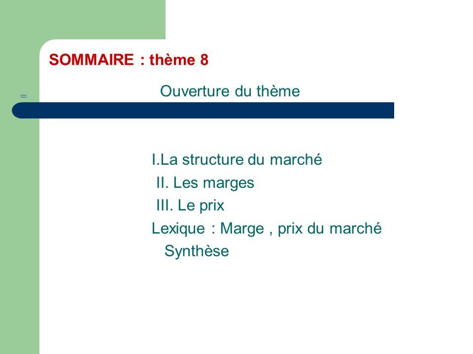 I.La structure du marché II. Les marges III. Le prix