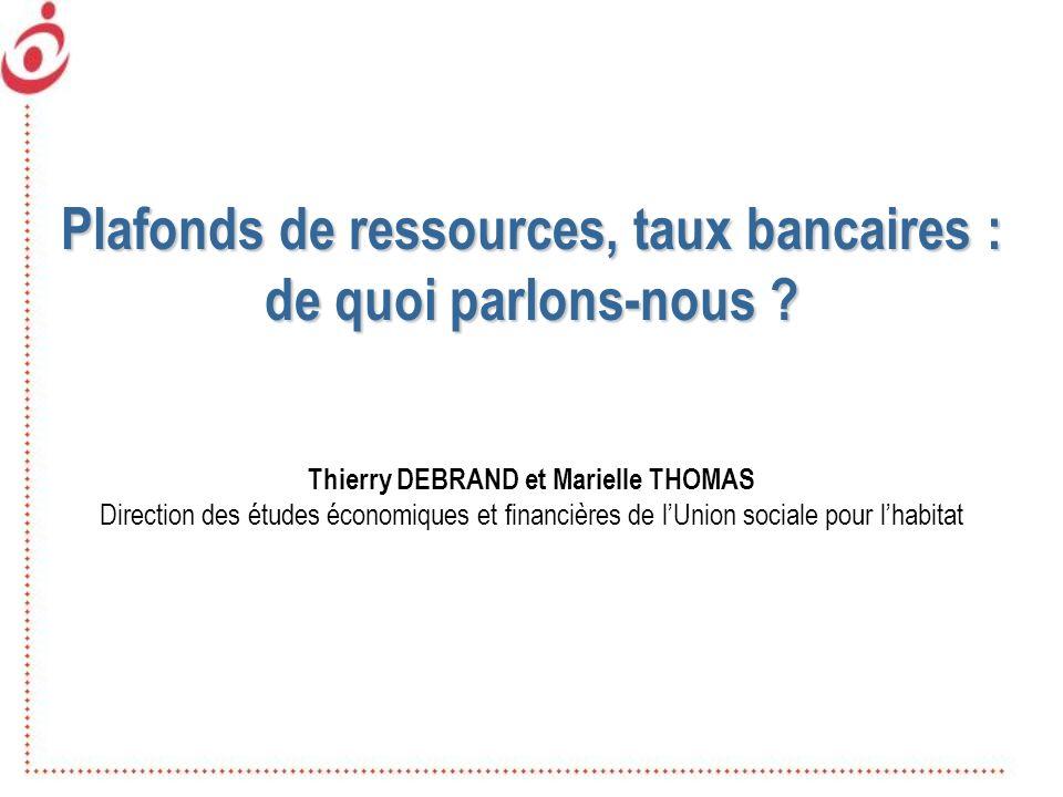 Plafonds de ressources, taux bancaires :