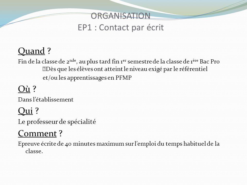 ORGANISATION EP1 : Contact par écrit
