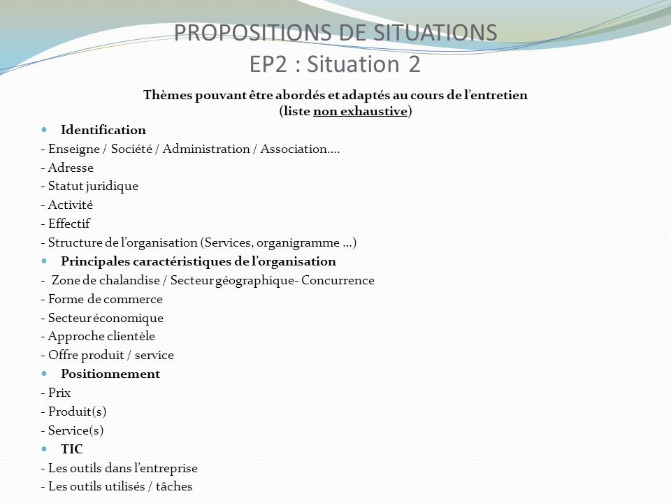 PROPOSITIONS DE SITUATIONS EP2 : Situation 2