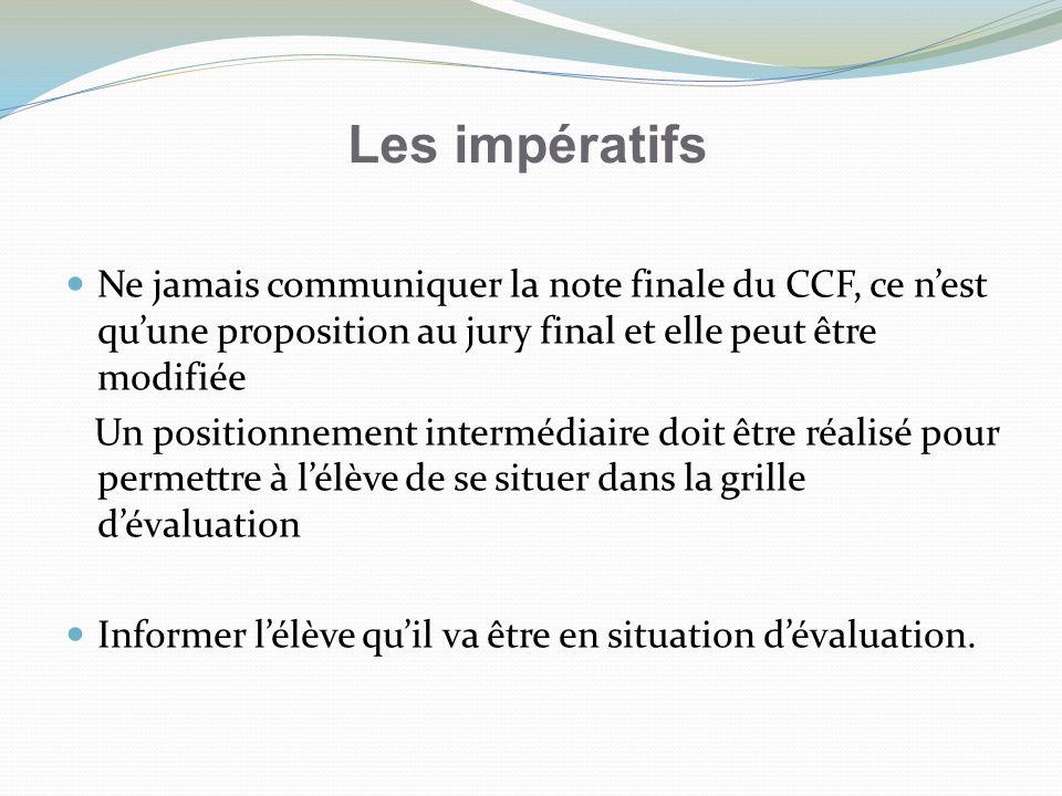 Les impératifs Ne jamais communiquer la note finale du CCF, ce n'est qu'une proposition au jury final et elle peut être modifiée.