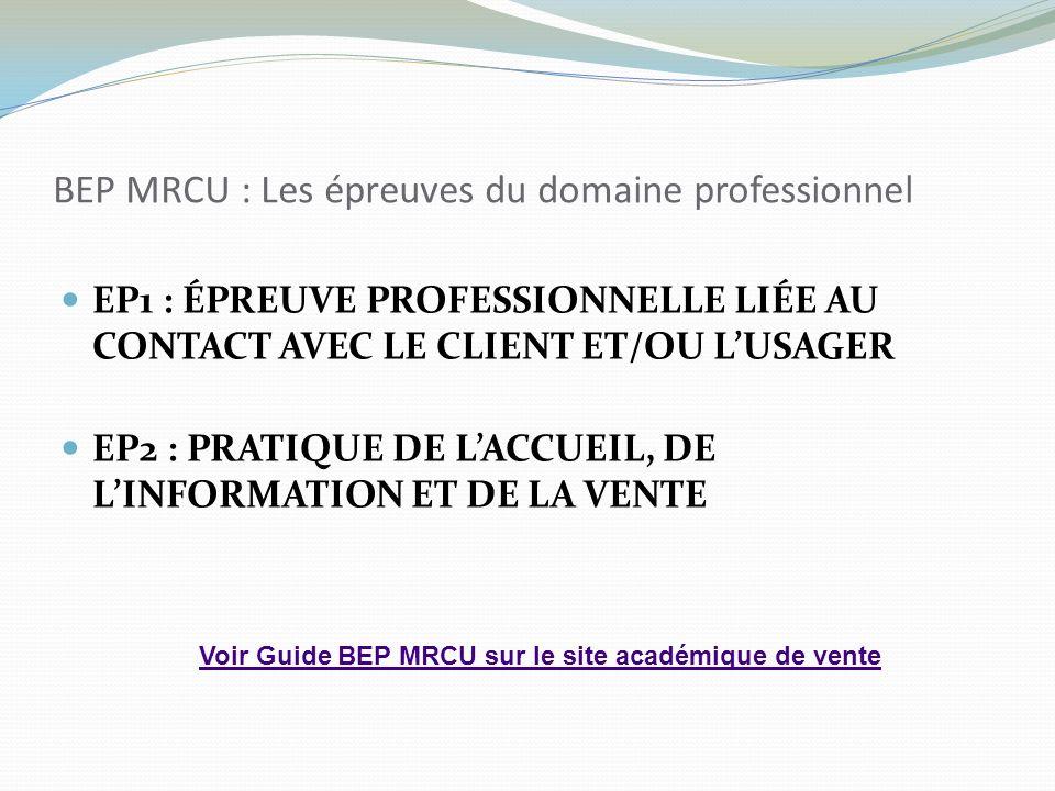 BEP MRCU : Les épreuves du domaine professionnel