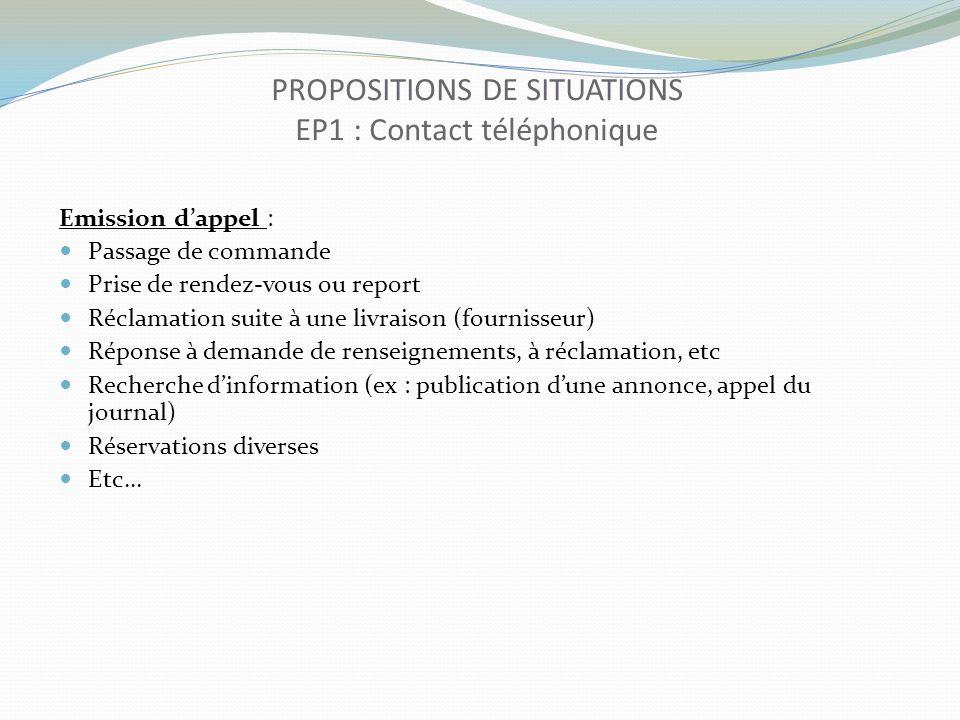 PROPOSITIONS DE SITUATIONS EP1 : Contact téléphonique