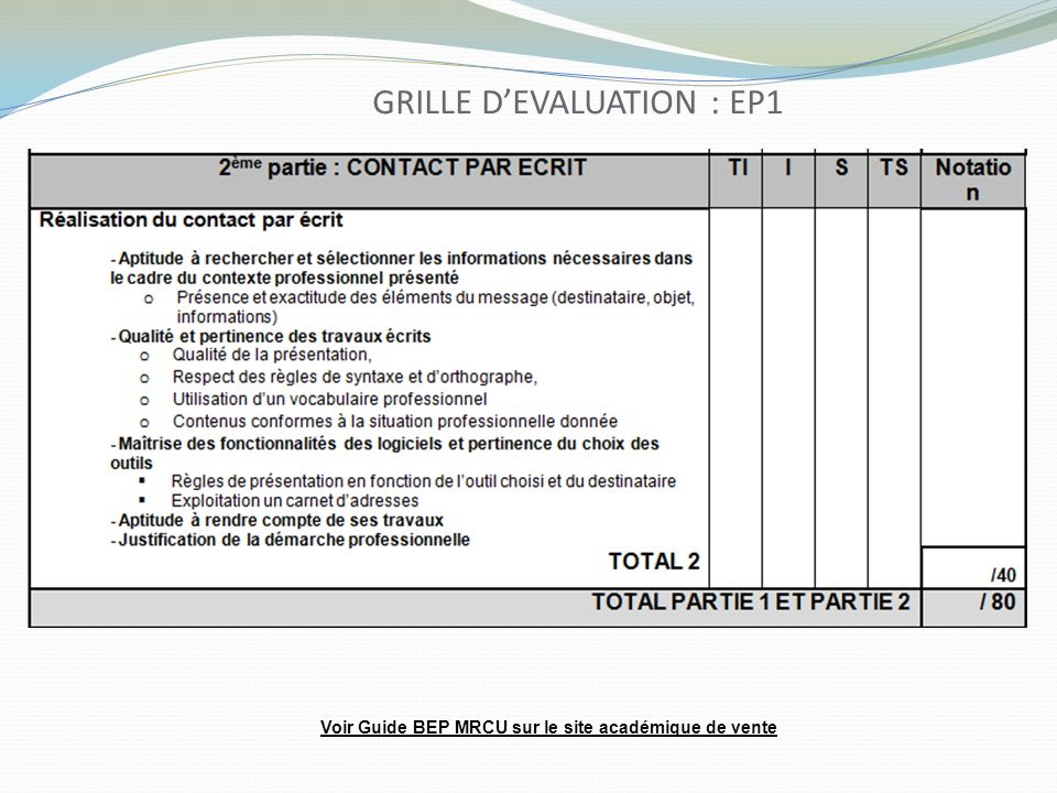 GRILLE D'EVALUATION : EP1