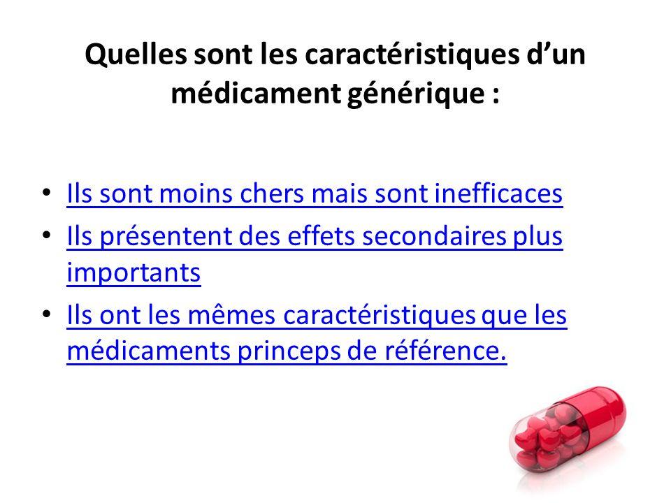 Quelles sont les caractéristiques d'un médicament générique :
