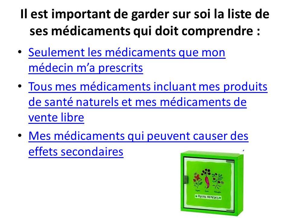 Il est important de garder sur soi la liste de ses médicaments qui doit comprendre :