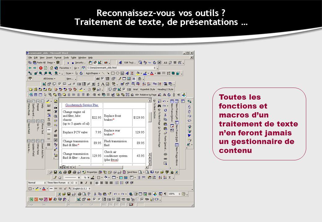 Reconnaissez-vous vos outils Traitement de texte, de présentations …