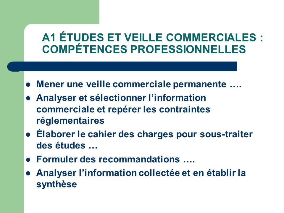 A1 ÉTUDES ET VEILLE COMMERCIALES : COMPÉTENCES PROFESSIONNELLES