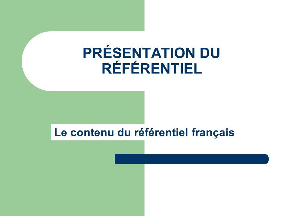 PRÉSENTATION DU RÉFÉRENTIEL