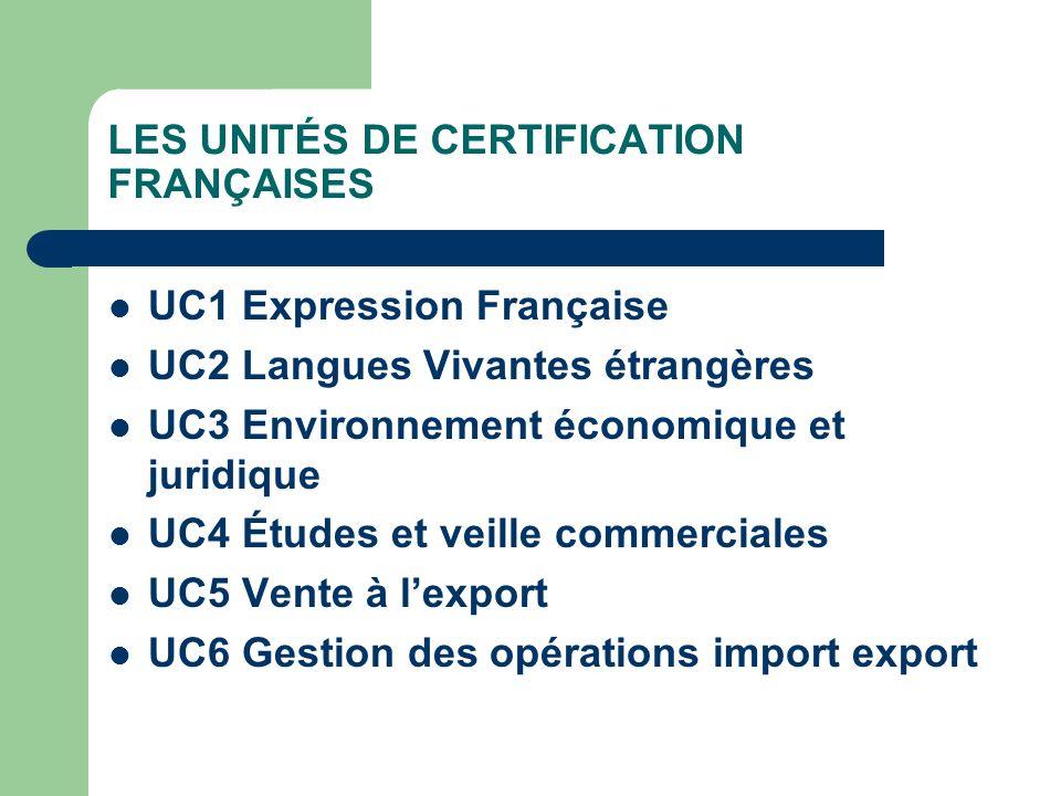 LES UNITÉS DE CERTIFICATION FRANÇAISES