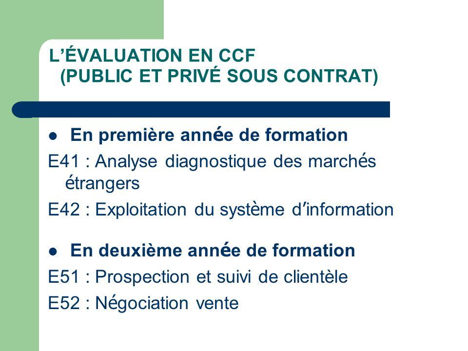 L'ÉVALUATION EN CCF (PUBLIC ET PRIVÉ SOUS CONTRAT)