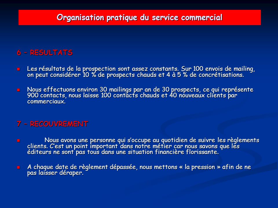Organisation pratique du service commercial