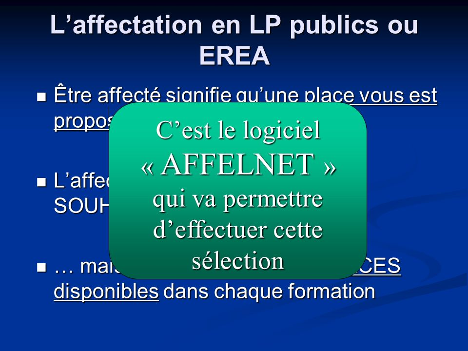 L'affectation en LP publics ou EREA