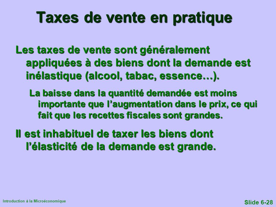 Taxes de vente en pratique