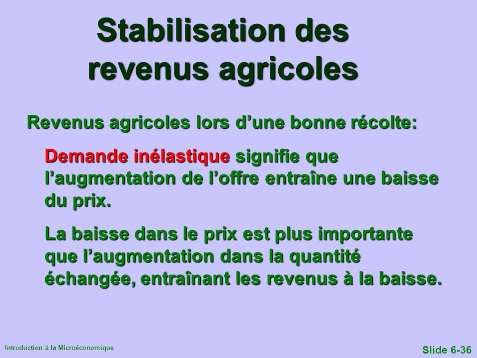 Stabilisation des revenus agricoles