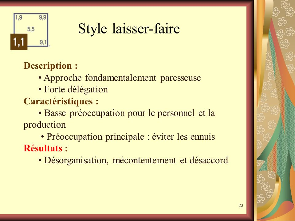 Style laisser-faire Description :