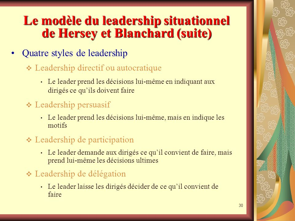 Le modèle du leadership situationnel de Hersey et Blanchard (suite)