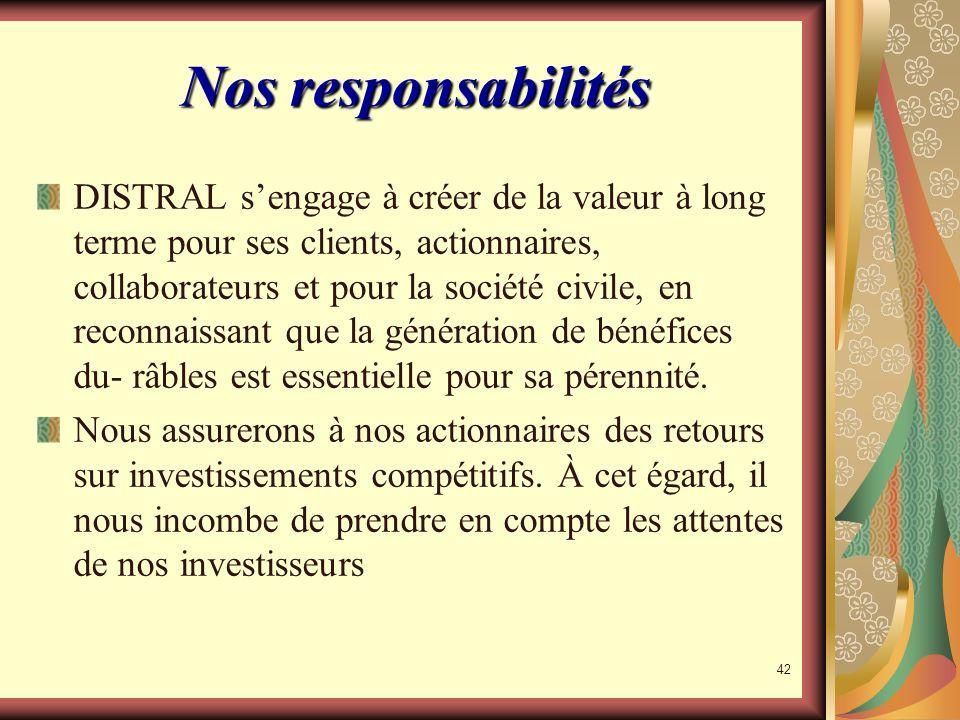 Nos responsabilités