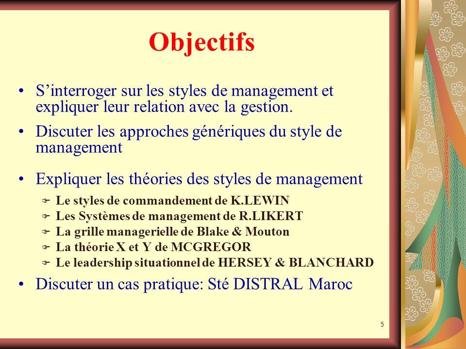 Objectifs S'interroger sur les styles de management et expliquer leur relation avec la gestion.