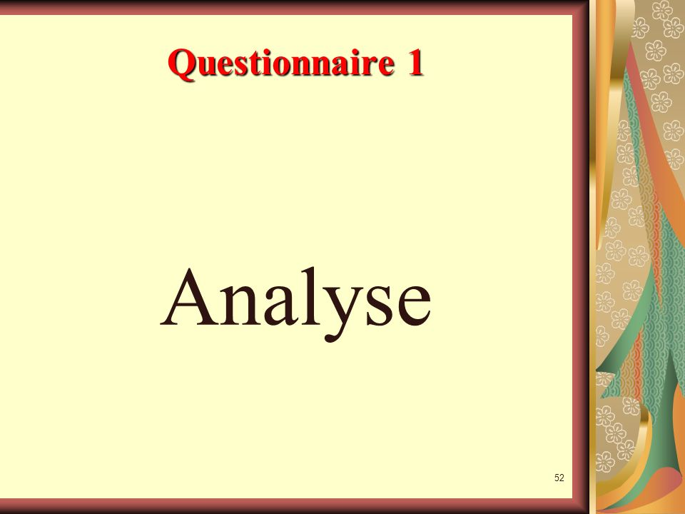 Questionnaire 1 Analyse