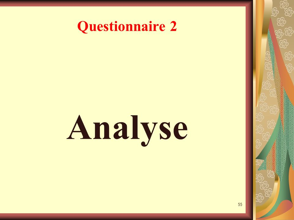 Questionnaire 2 Analyse