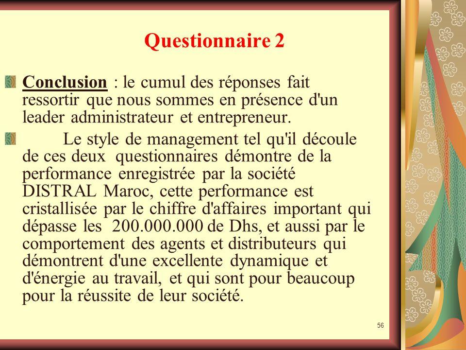 Questionnaire 2 Conclusion : le cumul des réponses fait ressortir que nous sommes en présence d un leader administrateur et entrepreneur.