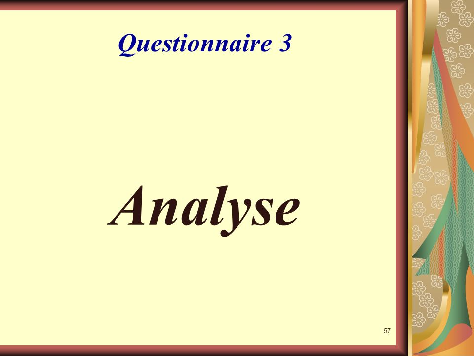 Questionnaire 3 Analyse