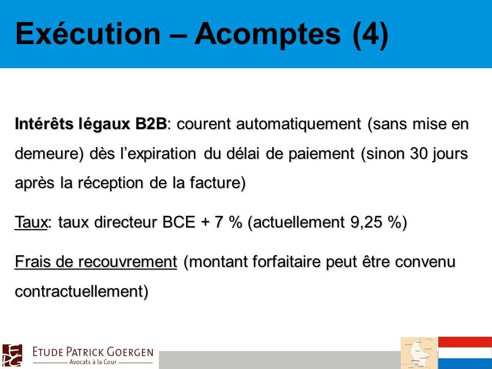 Exécution – Acomptes (4)