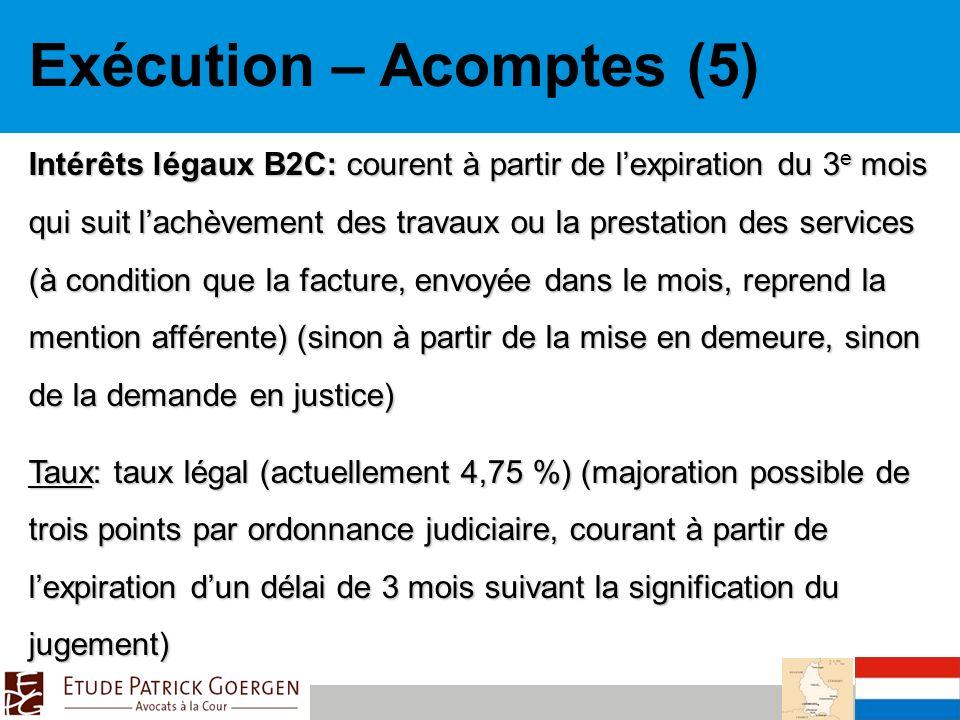 Exécution – Acomptes (5)