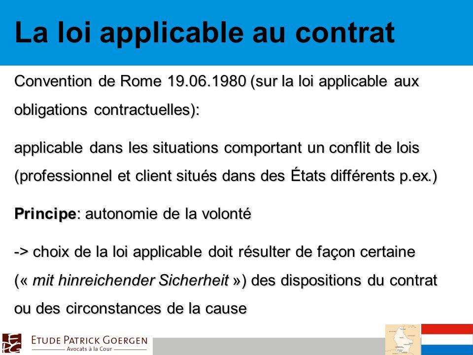La loi applicable au contrat