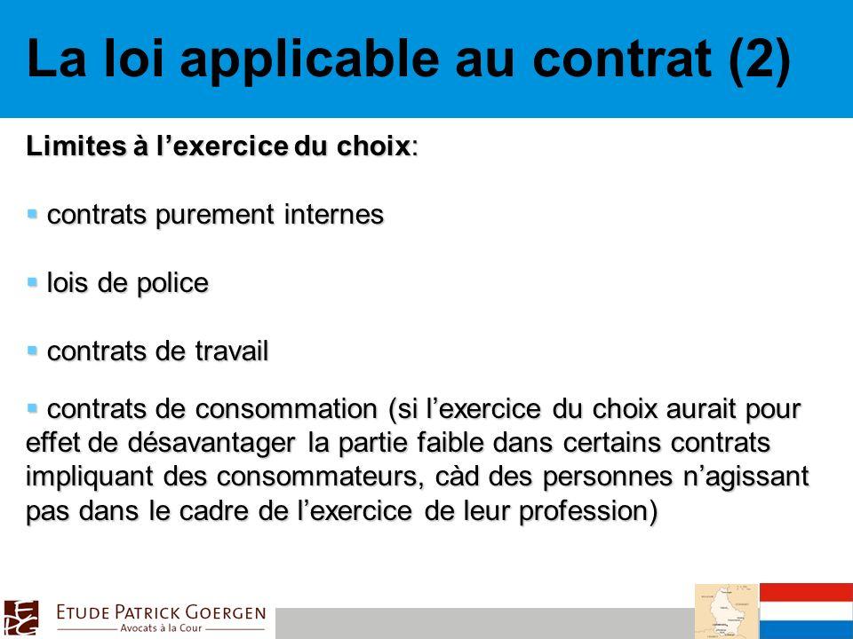 La loi applicable au contrat (2)