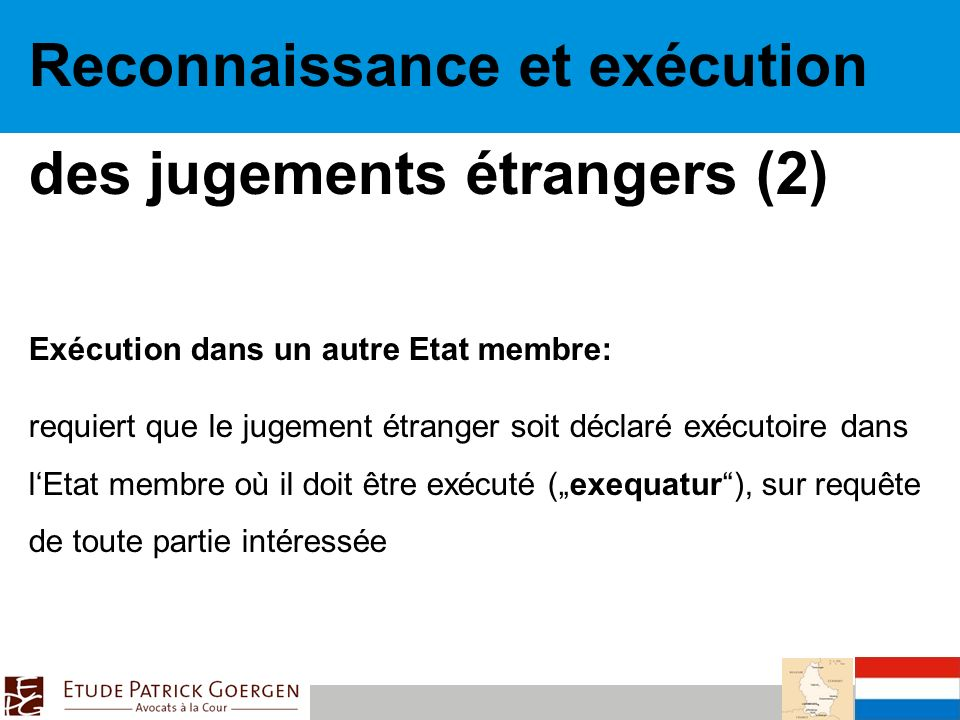 Reconnaissance et exécution des jugements étrangers (2)
