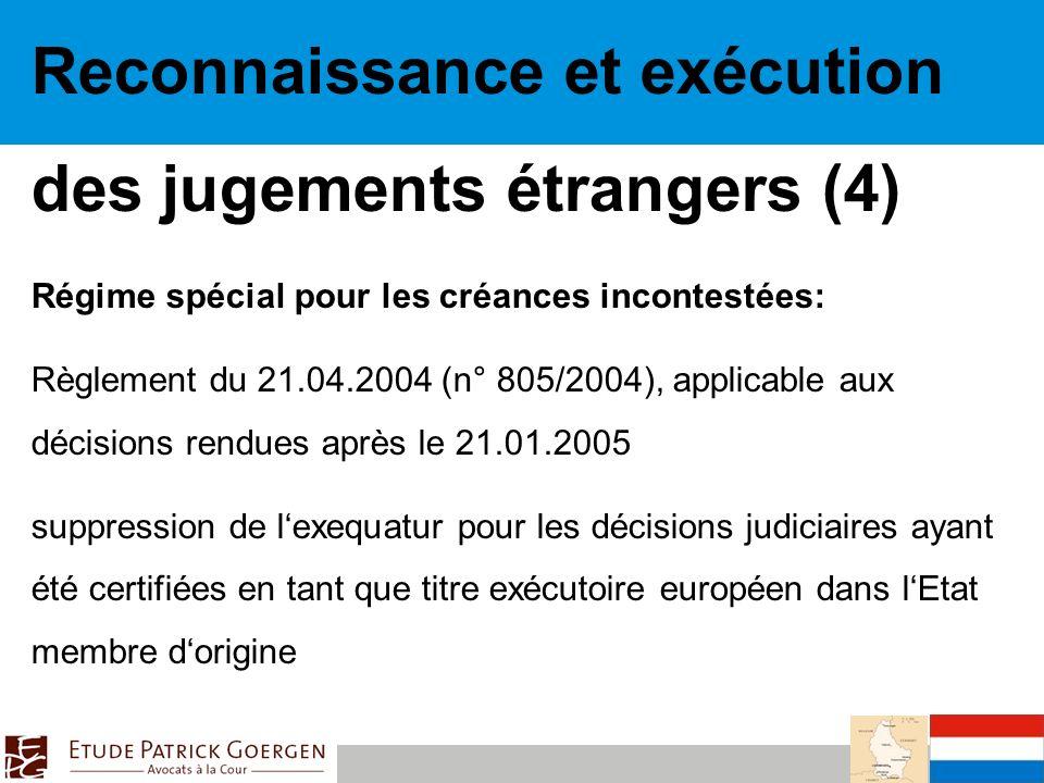 Reconnaissance et exécution des jugements étrangers (4)