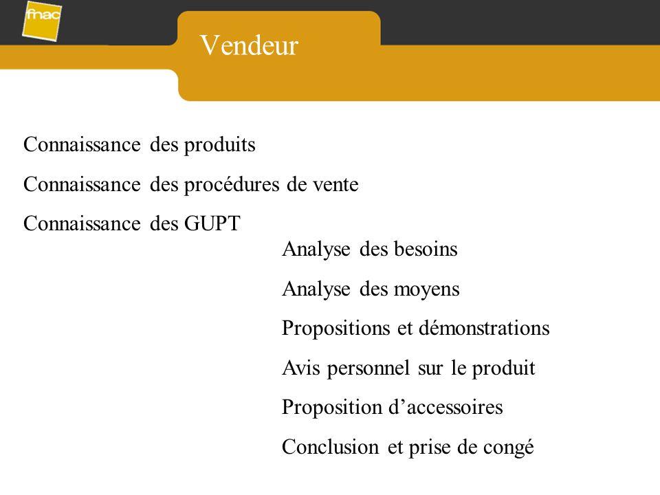 Vendeur Connaissance des produits Connaissance des procédures de vente