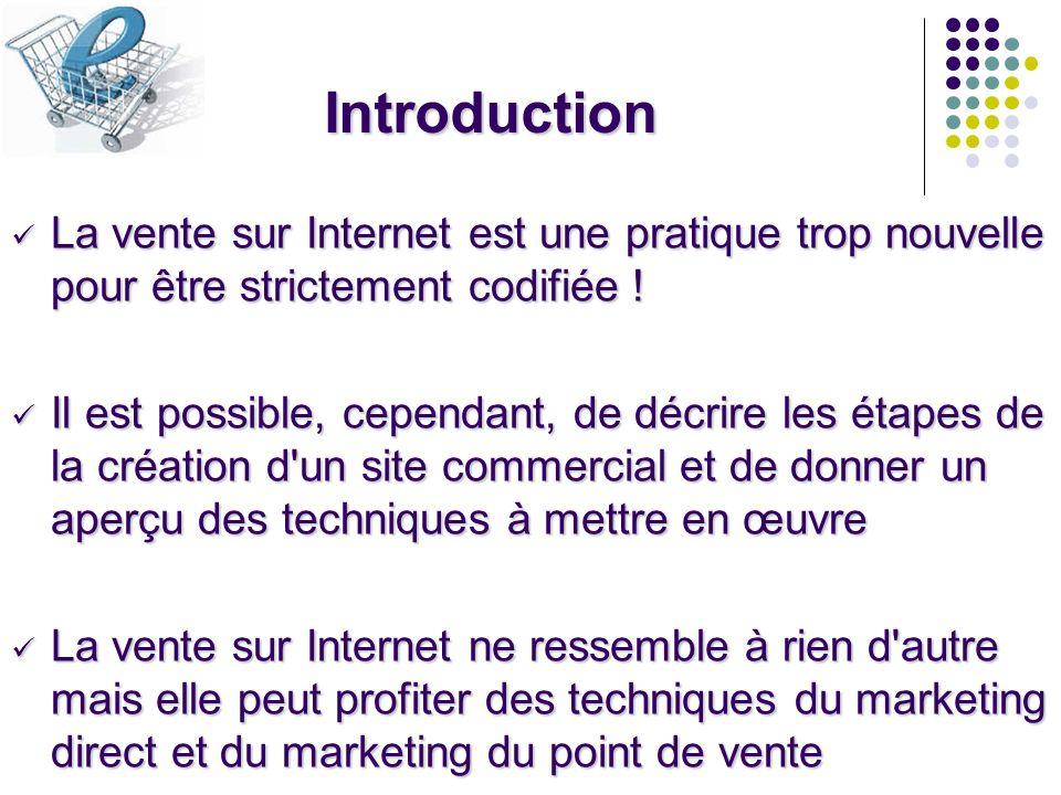 Introduction La vente sur Internet est une pratique trop nouvelle pour être strictement codifiée !
