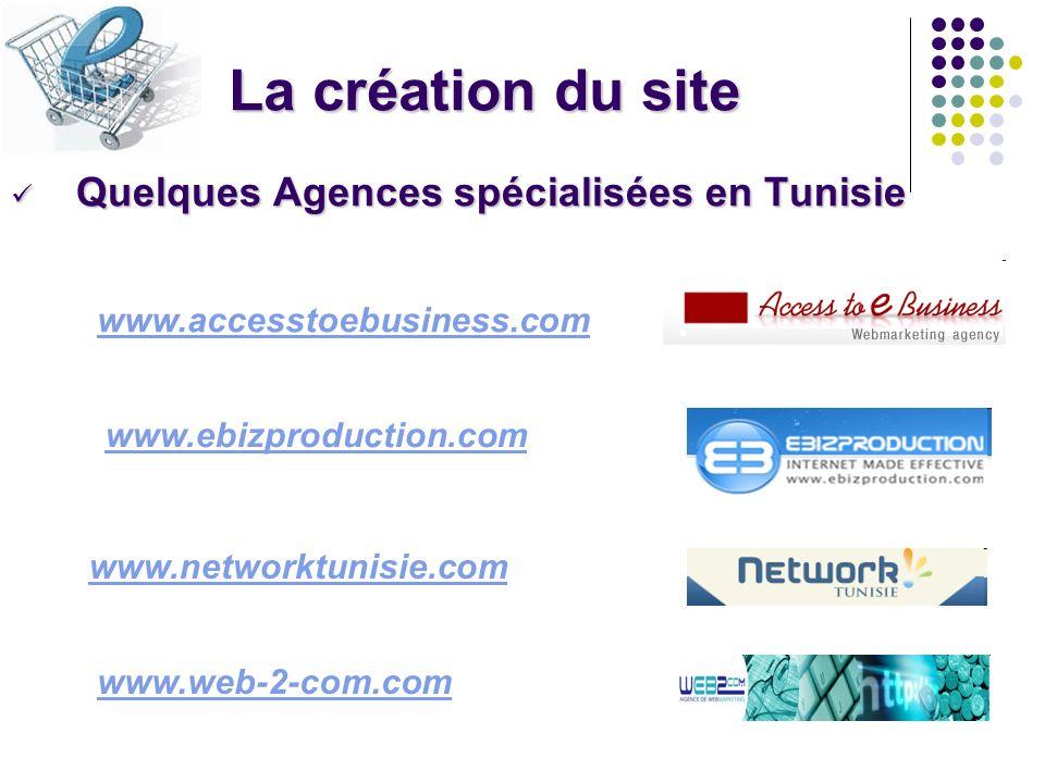 La création du site Quelques Agences spécialisées en Tunisie