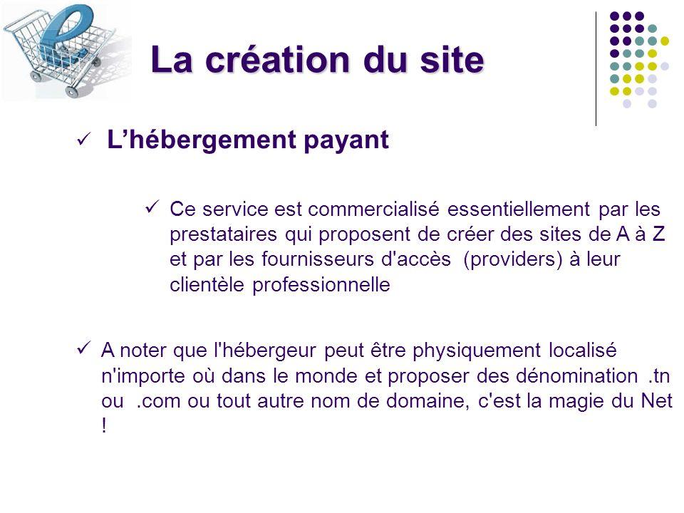 La création du site L'hébergement payant