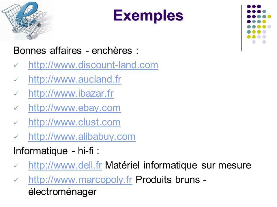 Exemples Bonnes affaires - enchères : http://www.discount-land.com