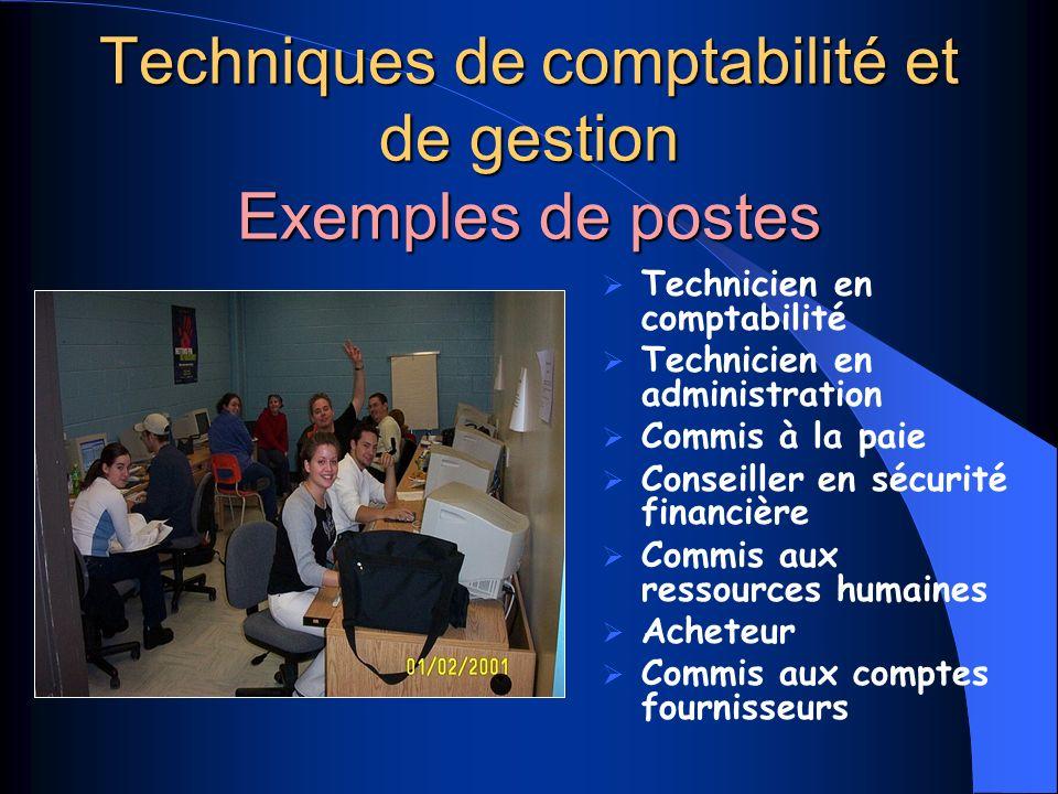 Techniques de comptabilité et de gestion Exemples de postes