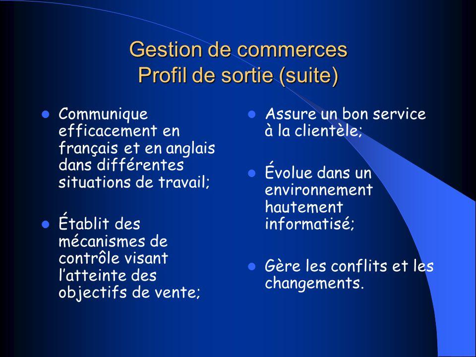 Gestion de commerces Profil de sortie (suite)