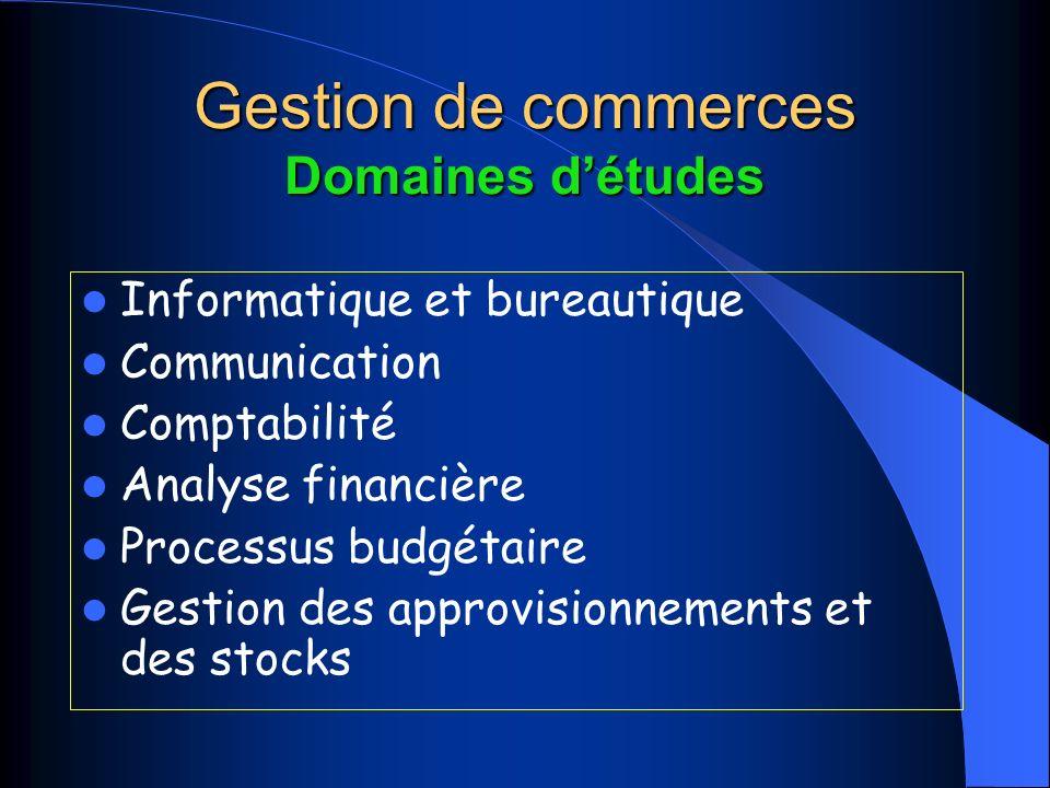 Gestion de commerces Domaines d'études