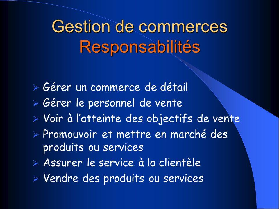 Gestion de commerces Responsabilités