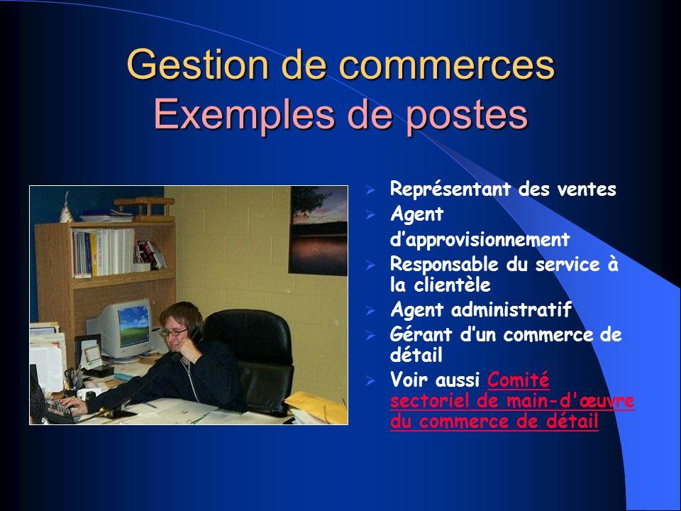 Gestion de commerces Exemples de postes