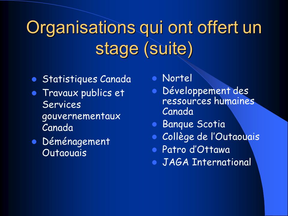 Organisations qui ont offert un stage (suite)