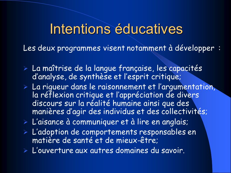 Intentions éducatives