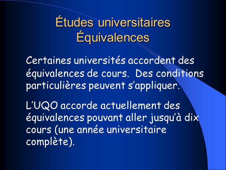 Études universitaires Équivalences