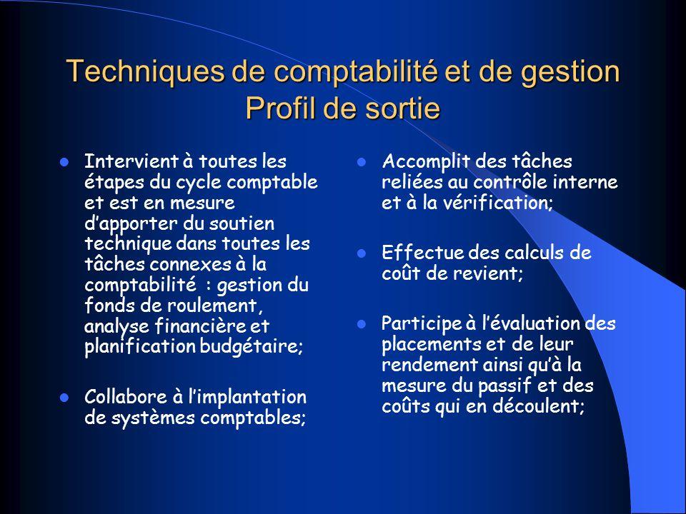 Techniques de comptabilité et de gestion Profil de sortie