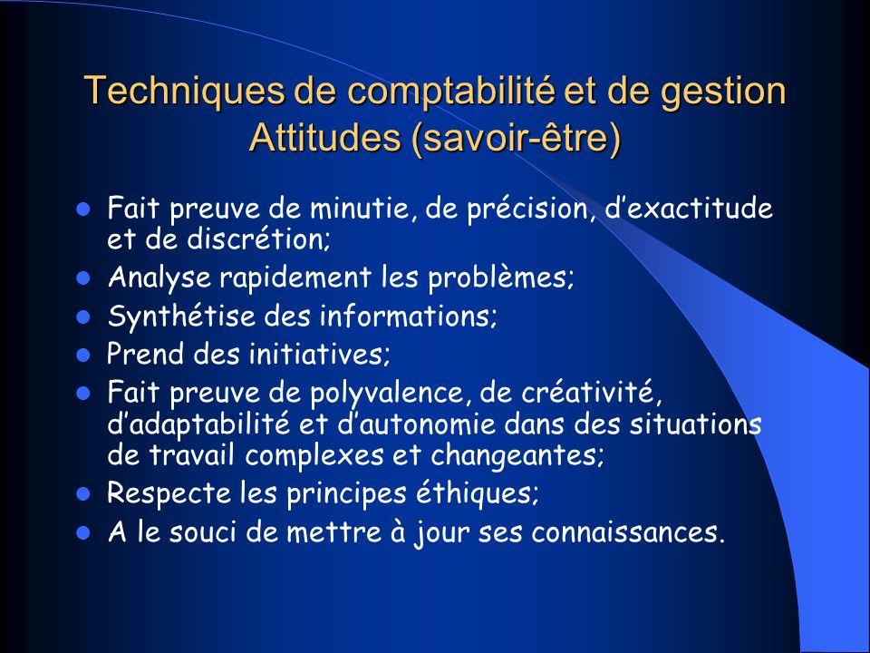 Techniques de comptabilité et de gestion Attitudes (savoir-être)